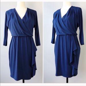 WHBM Faux Wrap Royal Blue Dress